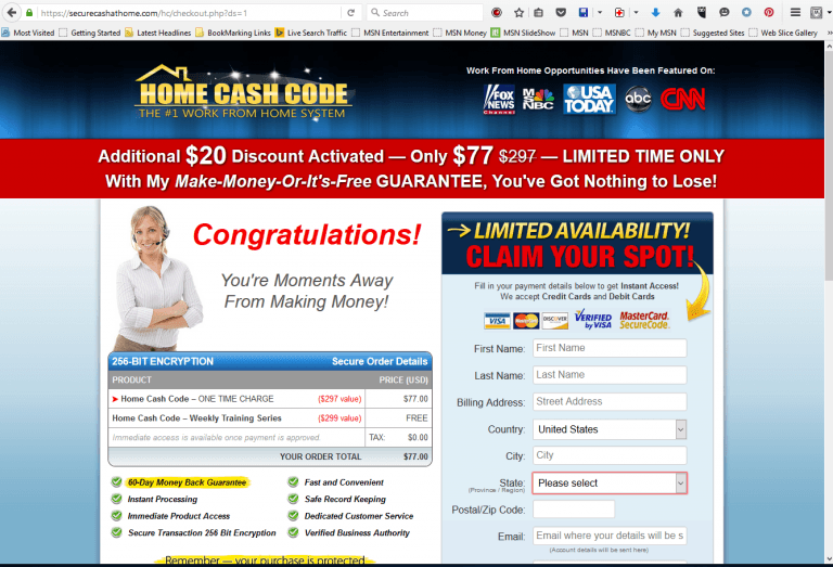 Home Cash Code - Secure Cash At Home Offer Now $77