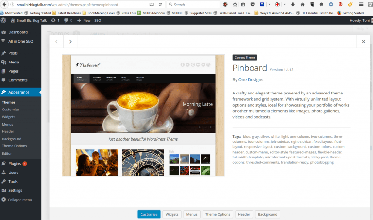 Screenshot of Pinboard WordPress Theme