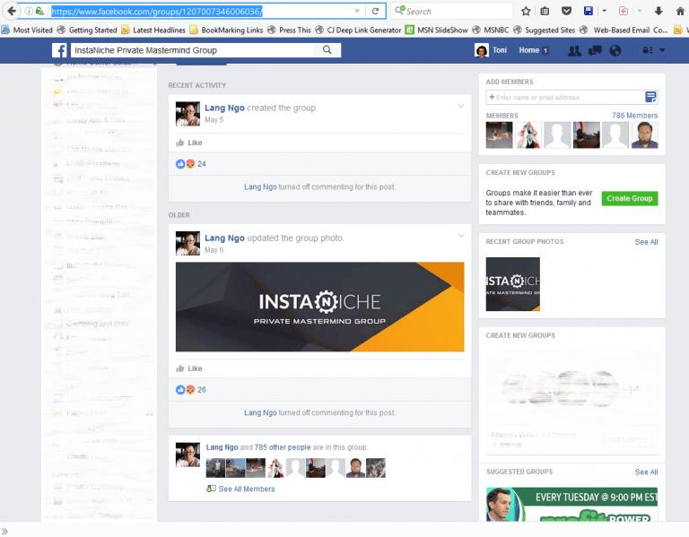 InstaNiche FB Page Shut Off May 6, 2016